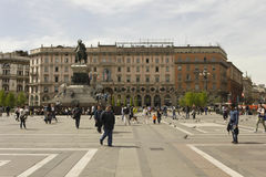 Monument to King Victor Emmanuel II and the Palazzo Carminati Royalty Free Stock Image
