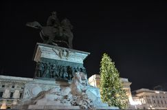 Monument to the king Vittorio Emanuele II illuminated by lights of the New Year concert. royalty free stock image