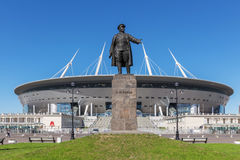 Free Monument To Kirov Before New Soccer `Saint-Petersburg Arena` In St. Petersburg Royalty Free Stock Photography - 93878677
