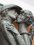 Monument to the kissing boy and girl. Bassano del Grappa, Italy. Stock Image