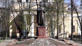 Monument to knyaz Alexander Nevsky stock footage