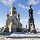 Monument to Komsomol of Ural, Church on Blood and Patriarchal Me Stock Image