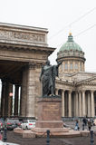 Monument to Kutuzov on the background of the Kazan Cathedral in Royalty Free Stock Image