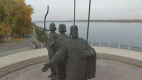 Monument to legendary founders of Kiev: Kiy, Schek, Khoryv and Lybid, Kiev stock video