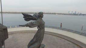 Monument to legendary founders of Kiev: Kiy, Schek, Khoryv and Lybid, Kiev stock footage