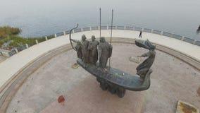 Monument to legendary founders of Kiev: Kiy, Schek, Khoryv and Lybid, Kiev stock video footage