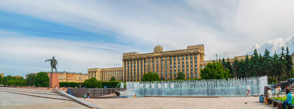 Monument to Lenin and the House of Soviets with singing fountains complex at Moscow square in St Petersburg, Russia Stock Photo