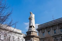 Monument to Leonardo da Vinci in Milan, Italy royalty free stock images