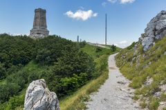 Monument to Liberty Shipka and landscape to Stara Planina Balkan Mountain, Bulgaria. Monument to Liberty Shipka and landscape to Stara Planina Balkan Mountain royalty free stock image