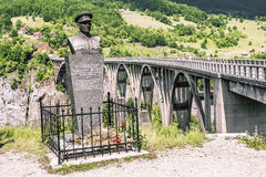 Monument to the lieutenant Bozidar Zhugich near  the bridge of Royalty Free Stock Photos