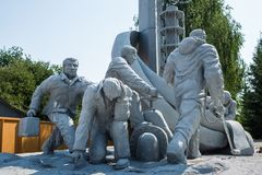 Monument to the liquidators of the consequences of the Chernobyl nuclear power plant accident. UKRAINE, CHERNOBYL - 19 AUGUST 2017: Monument to the liquidators stock photo