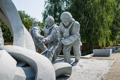 Monument to the liquidators of the consequences of the Chernobyl nuclear power plant accident. UKRAINE, CHERNOBYL - 19 AUGUST 2017: Monument to the liquidators royalty free stock images