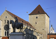 Monument to Ludwig I and church of St. Ulrich in Regensburg. Bavaria. Germany Royalty Free Stock Image