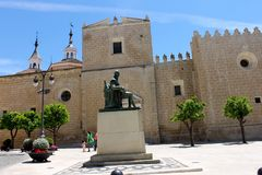 Monument to Luis de Morales, Badajoz, Spain. Monument to Luis de Morales 1512 - 1586, a Spanish painter born in Badajoz, Spain, in front of Badajoz Cathedral Stock Photo