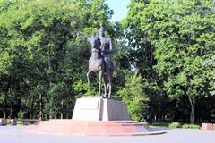 Monument to Manas the Magnanimous, the hero of the Kirghiz epic is set in the Park of Friendship, Moscow, Russia. The monument to the hero of the Kyrgyz epic royalty free stock photo