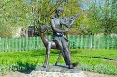 Monument to Mark Chagall in courtyard of memorial house-museum, Vitebsk, Belarus. VITEBSK, BELARUS - MAY 16, 2017: Sculptural composition `Vitebsk melody on royalty free stock photo