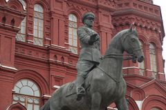 A monument to the marshal of the Soviet Union Georgy Zhukov Royalty Free Stock Photo