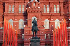 Monument to Marshal of Soviet Union Georgy Zhukov on may 9 on re Stock Images