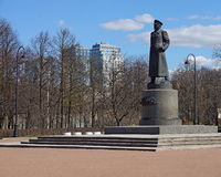 Monument to Marshal of the Soviet Union Georgy Zhukov in the Victory Park in St. Petersburg Royalty Free Stock Images