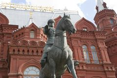Monument to marshal Zhukov in Moscow Stock Image