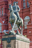 Monument to Marshal Zhukov in Moscow Stock Images