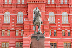 Monument to Marshal Zhukov in Moscow. Stock Photo