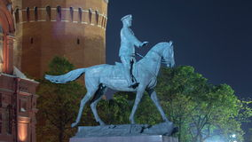 The monument to Marshal Zhukov near the Historical stock video