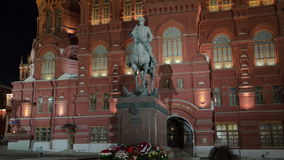 The monument to Marshal Zhukov near the Historical stock video footage