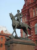 Monument to Marshal Zhukov on Red Square. In Moscow, Russia, on a light sky background Stock Images