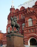 Monument to Marshal Zhukov on Red Square. In Moscow, Russia, on a light sky background Royalty Free Stock Photography