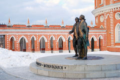 Monument to Matvey Kazakov and Vasily Bazhenov in Tsaritsyno Stock Photos