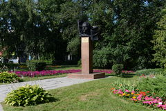 The monument to Maxim Caplina - Chairman of the military revolutionary Committee and Barnaul Council of workers `and soldiers` dep. BARNAUL, RUSSIA - JULY 13 Royalty Free Stock Photography
