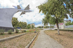 Monument to the MIG-21 in Mozdok Stock Photo