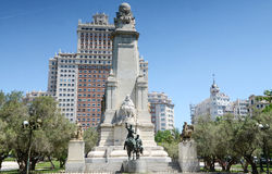 Monument to Miguel de Cervantes Saavedra on Plaza de Espana (Spain Square), Madrid, Spain. Tthe popular tourist destination at the western end of the Gran Via royalty free stock photography