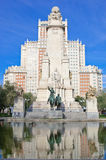 Monument to Miguel de Cervantes Saavedra. On Plaza de Espana in Madrid, Spain Royalty Free Stock Photography