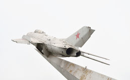 Monument to military pilots - a MiG-19 fighter plane. Royalty Free Stock Image