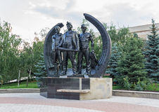 Monument to the miners in Makeevka Stock Photography