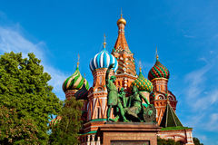The Monument to Minin and Pozharsky in front of Saint Basil's Ca Stock Images