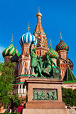 The Monument to Minin and Pozharsky in front of Saint Basil's Ca Royalty Free Stock Photos