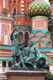 Monument to Minin and Pozharsky. In front of St. Basil Cathedral in Moscow, Russia Stock Image