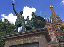 Monument to Minin and Pozharsky in Moscow. The monument to Prince Dmitry Pozharsky and the butcher Kuzma Minin. In the Time of Troubles 16th century they Royalty Free Stock Images