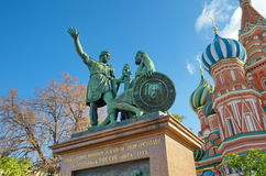 The Monument to Minin and Pozharsky, Moscow, Russia. The Monument to Minin and Pozharsky on Red square near St. Basil's Cathedral Royalty Free Stock Images