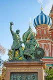 The Monument to Minin and Pozharsky, Moscow, Russia. The Monument to Minin and Pozharsky on Red square near St. Basil`s Cathedral Stock Photography