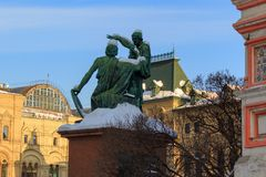 Monument to Minin and Pozharsky near the Moscow Kremlin in Moscow Royalty Free Stock Photography