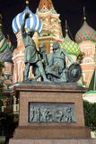 Monument to Minin and Pozharsky at night in Moscow Royalty Free Stock Photography