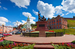 Monument to Minin and Pozharsky at Nizhny Novgorod. In summer sunny day. Russia Stock Photography