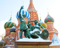 Monument to Minin and Pozharsky on the Red Square in Moscow Stock Photo