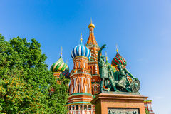 Monument to Minin and Pozharsky on Red Square of Moscow Stock Images