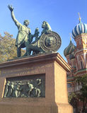 Monument to Minin and Pozharsky on the Red Square in Moscow Russia. Saint Basil`s Cathedral royalty free stock images