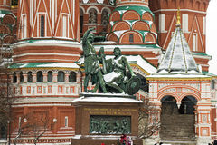 Monument to Minin and Pozharsky. In St. Basil's cathedral Stock Images
